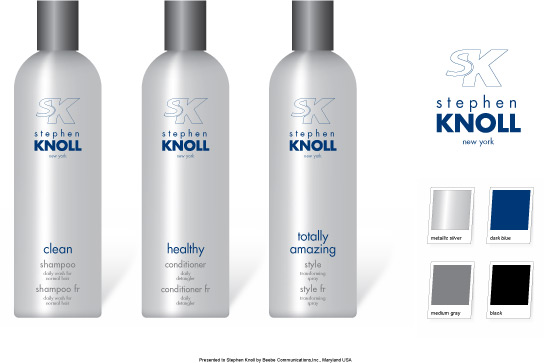 SKNY hair care packaging layouts