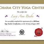 Charm City Yoga Center Certificate Lucy Ann Beebe Clark