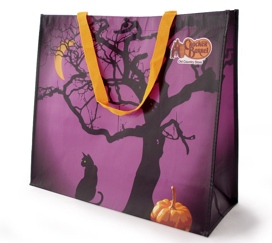 Halloween themed reusable shopping bag for Cracker Barrel store sales