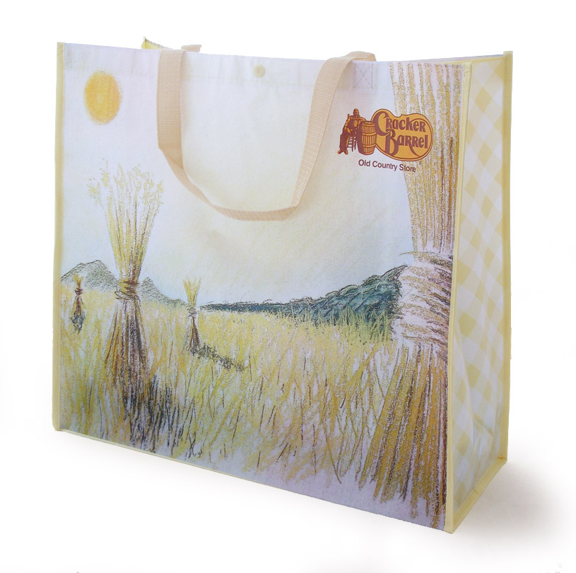 Harvest themed reusable shopping bag for Cracker Barrel store sales