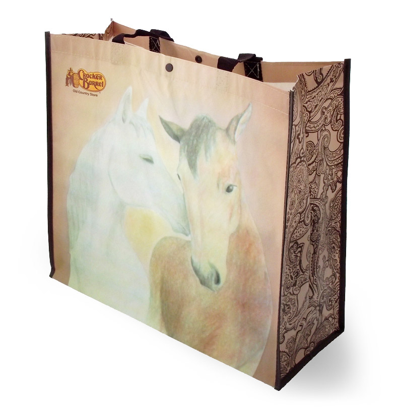 Horse themed reusable shopping bag for Cracker Barrel store sales