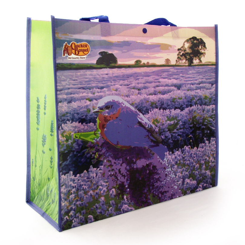 Purple themed reusable shopping bag for Cracker Barrel store sales