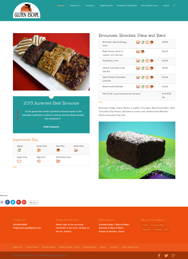 Gluten Escape Brownies Menu