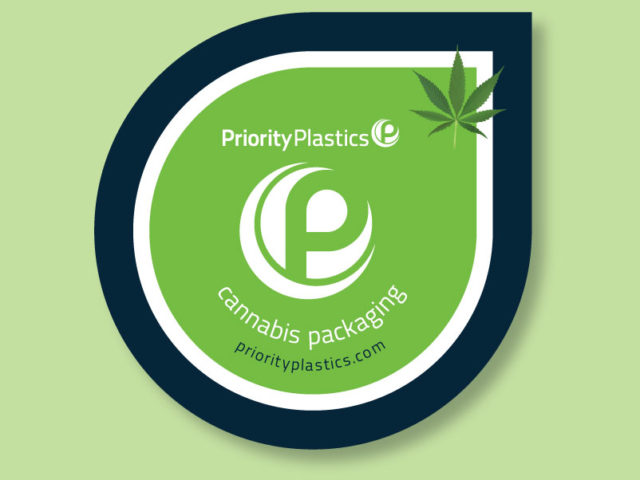 Priority Plastics cannabis label and packaging